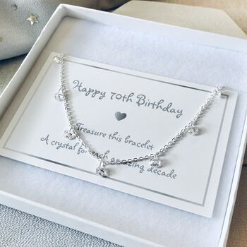 70th Birthday Sterling Silver Crystal Bracelet
