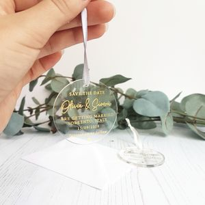 Clear Perspex With Gold Foil Hanging Save The Date - invitations