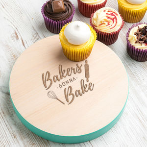 Bakers Gonna Bake Wooden Cupcake Stand - kitchen