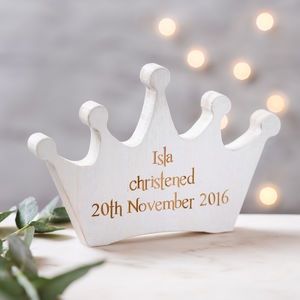 Personalised Christening White Wooden Crown Keepsake - christening gifts