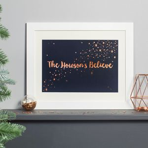 Personalised Copper Foiled Family Believes Print - christmas home accessories