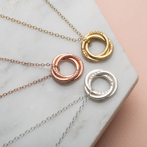 Personalised 9ct Gold Russian Ring Necklace - bridal edit