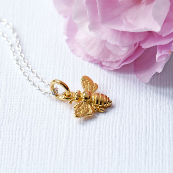 Honey Bee Necklace, Silver, Gold, Rose Gold