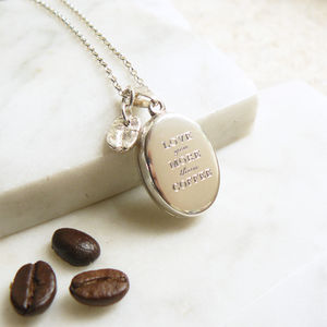 'Love you more than Coffee' Silver Locket Necklace
