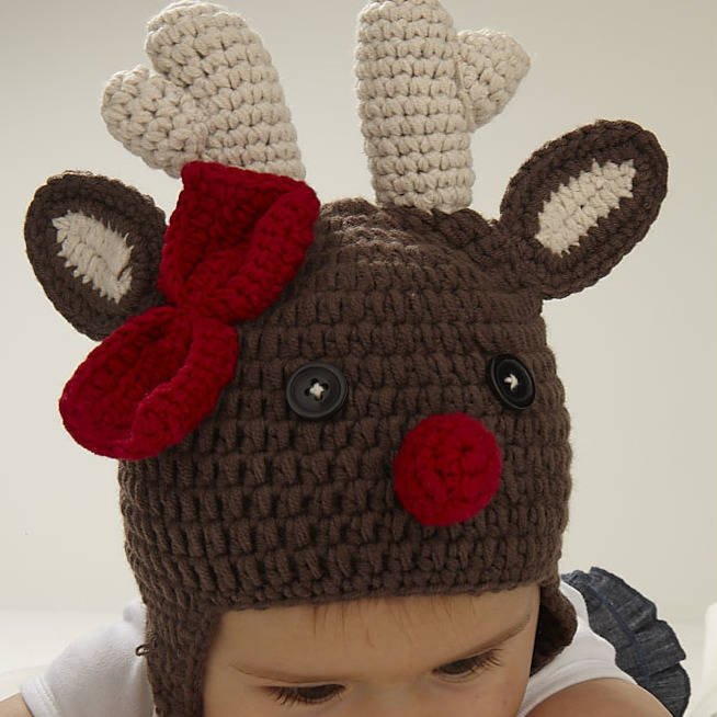 Christmas Reindeer Infant Crochet Hat By Viv Joe