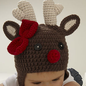Christmas Reindeer Infant Crochet Hat - babies' hats
