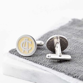 24ct Gold And Silver Entwined Monogram Cufflinks