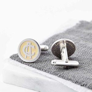 24ct Gold And Silver Entwined Monogram Cufflinks - cufflinks