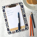 Marisol Clipboard, Blue And Orange Tiling Pattern