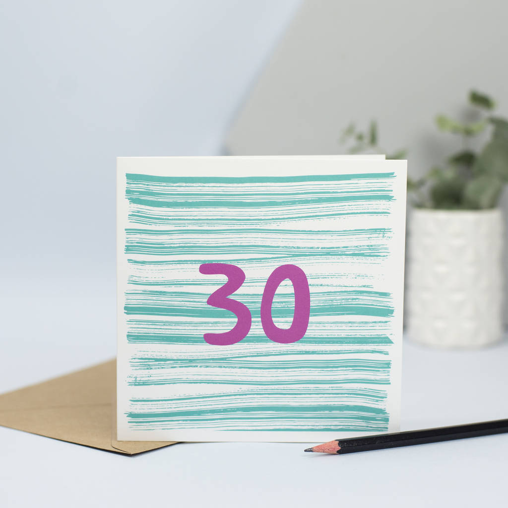 30th Birthday Card Unisex For 30 Year Old By Lizzie Chancellor