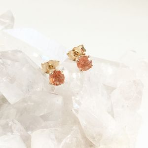Gold Filled Sunstone Stud Earrings - earrings