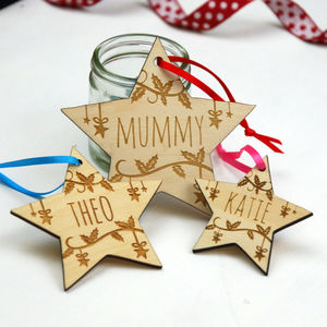 Personalised Engraved Star Decoration - tree decorations