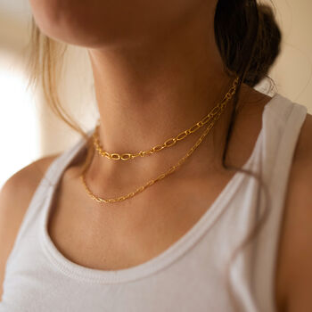 18k Gold Thick Link Chain Necklace Set