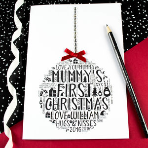 Mummy's First Christmas Son Bauble Card - seasonal cards