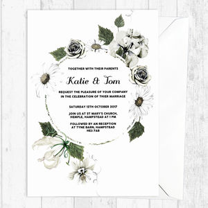 Classic White Botanical Floral Wedding Invitations - invitations