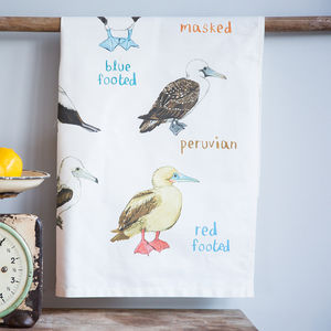 'Boobies' Illustrated Bird Tea Towel