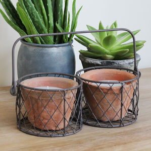 Wire Basket Candles In Pots