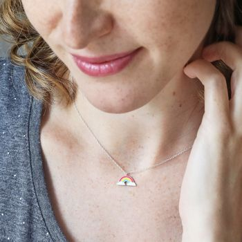 Sterling Silver Enamel Rainbow Necklace