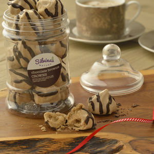 Chocolate Brownie Meringue Crowns Victorian Jar - gluten free food gifts
