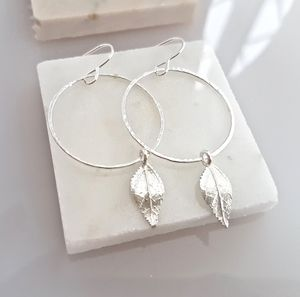 Silver Hoop And Leaf Earrings, Silver Circle Earrings