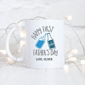 Personalised 'First Father's Day' Typography Mug - tableware