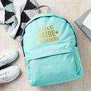 Personalised Bride In Training Backpack