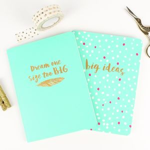 Dream One Size Too Big A6 Notebook Set - notebooks & journals