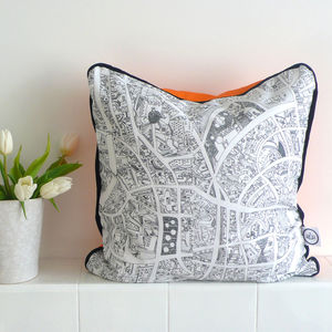 Hand Drawn Abstract City Cushion