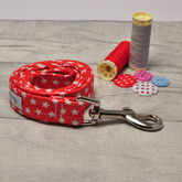 Red And White Star Dog Lead - pets