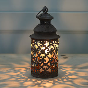 Marrakesh Floral Rusty Candle Lantern - outdoor decorations