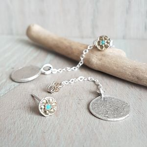Turquoise And Silver Coin Drop Earrings
