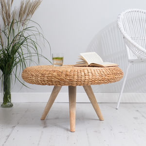 Natural Wood Round Coffee Table - furniture