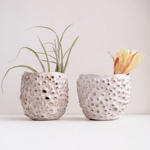 Handmade Sculptural Ceramic Tea Light Airplant Holder - pots & planters