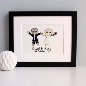 Personalised Wedding Couple Embroidered Artwork - mixed media & collage