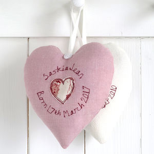 Personalised New Baby Girl Heart - bedroom