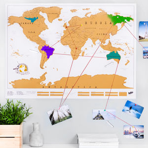 Scratch Off® 'Push Pin' World Map Bundle - for travel-lovers