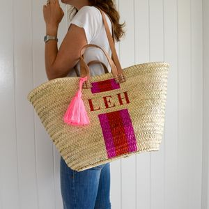 Monogram Stripe Straw Basket With Tassel