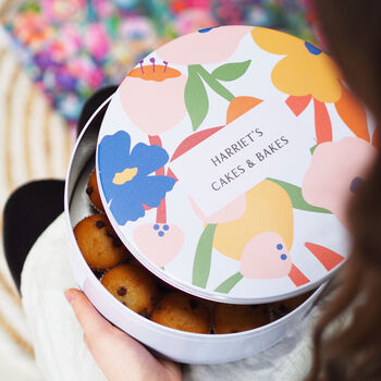 Personalised Floral Cake Tin