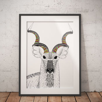Kudu Pattern Animal Illustration | A3 Print | Black & White