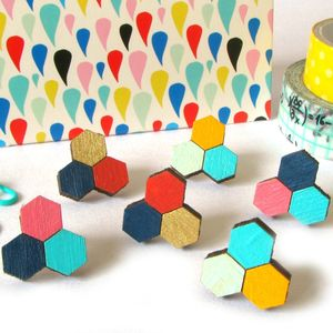 Honeycomb Hexagon Stud Earrings