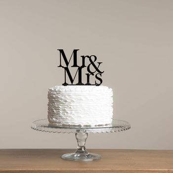 Mr And Mrs Wedding Cake Topper In Serif Font Set