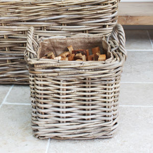 Handwoven Kindling Basket - log baskets
