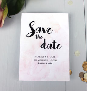 Watercolour Wedding Save The Date Card - table plans