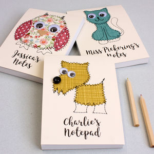 Personalised Animal Embroidered Notepad - personalised sale gifts