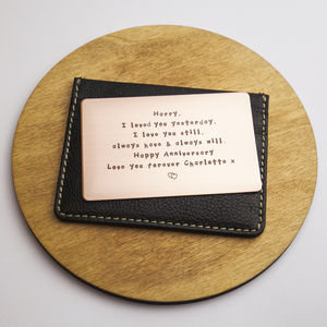 Personalised Metal Wallet Insert Card - 10th anniversary: tin