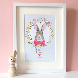 Personalised Girls Bunny Rabbit Print - easter gifts for children