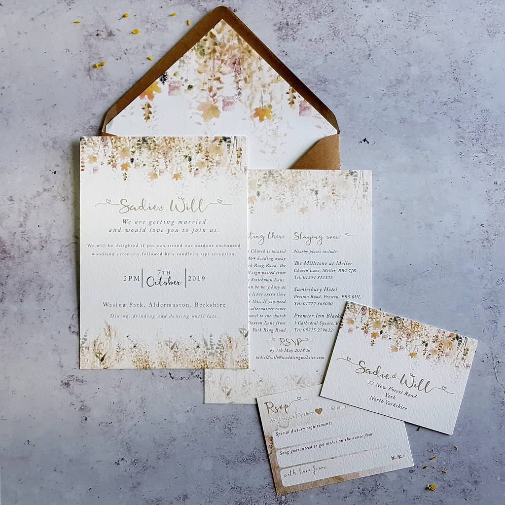 Whimsical Autumn Wedding Invitation By Julia Eastwood