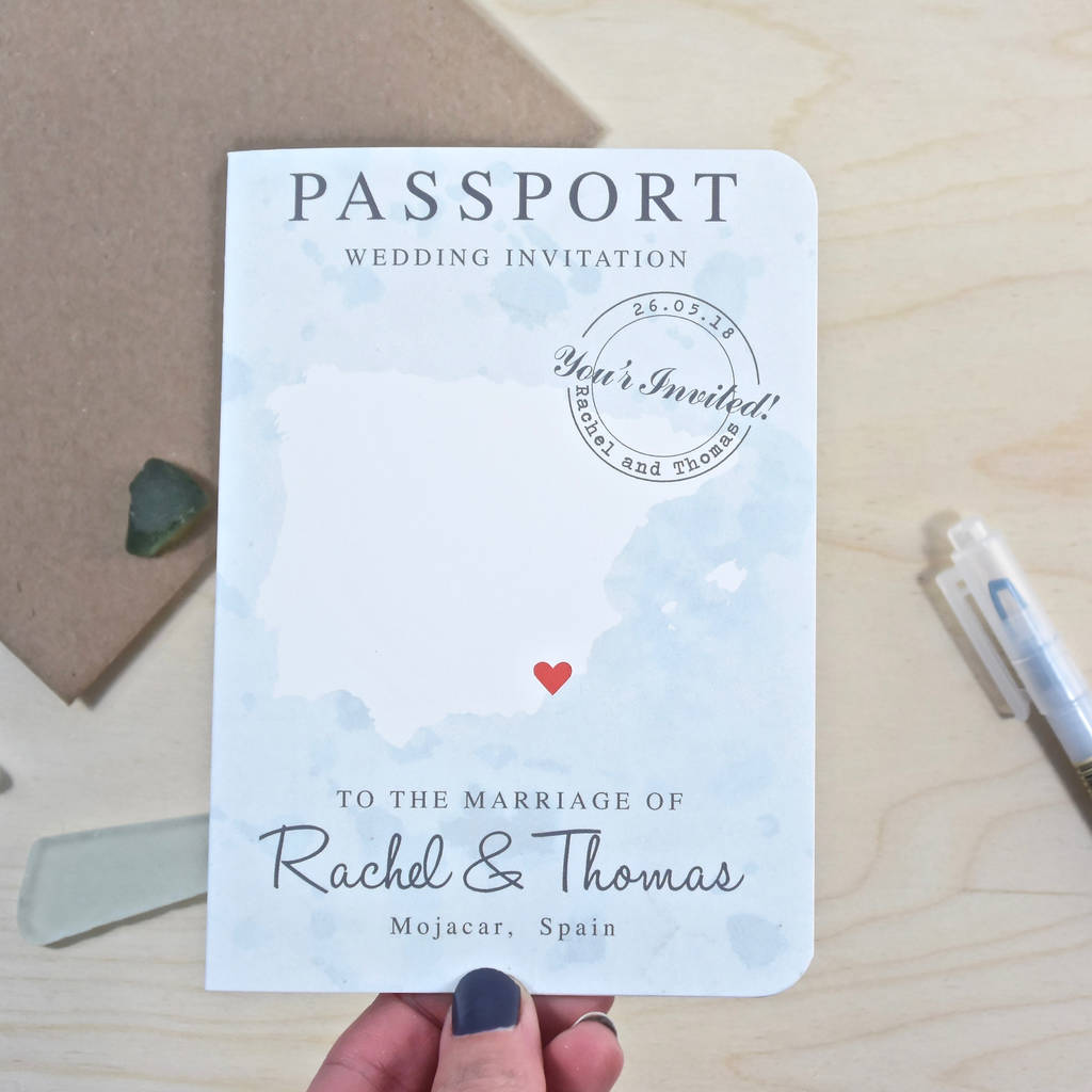 Vintage Style Passport Wedding Invitation By Paper And Inc