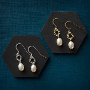 Geometric Diamond Pearl Drop Earrings