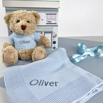Personalised Baby Boy Bertie Bear With Blanket, Blue